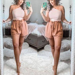 Pink Lily Coast To Coast Paperbag Orange Shorts XL